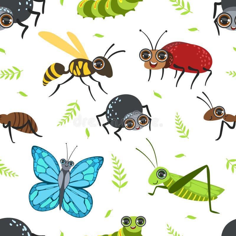 Den sömlösa modellen med fjärilar och skalbaggar, felet, gräshoppan, Caterpillar, myran, Wasp, designbeståndsdel kan användas för royaltyfri illustrationer