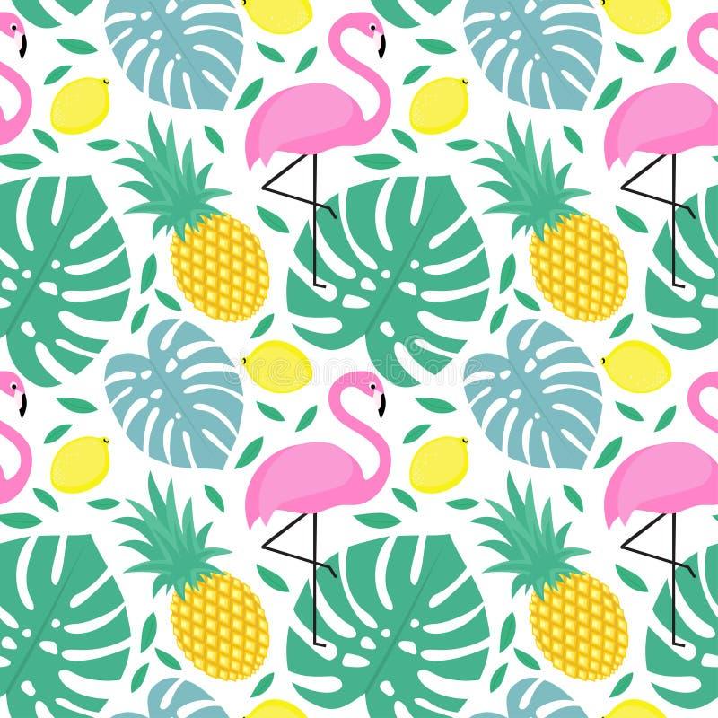 Den sömlösa modellen med flamingo, ananas, citroner och gräsplan gömma i handflatan vektor illustrationer
