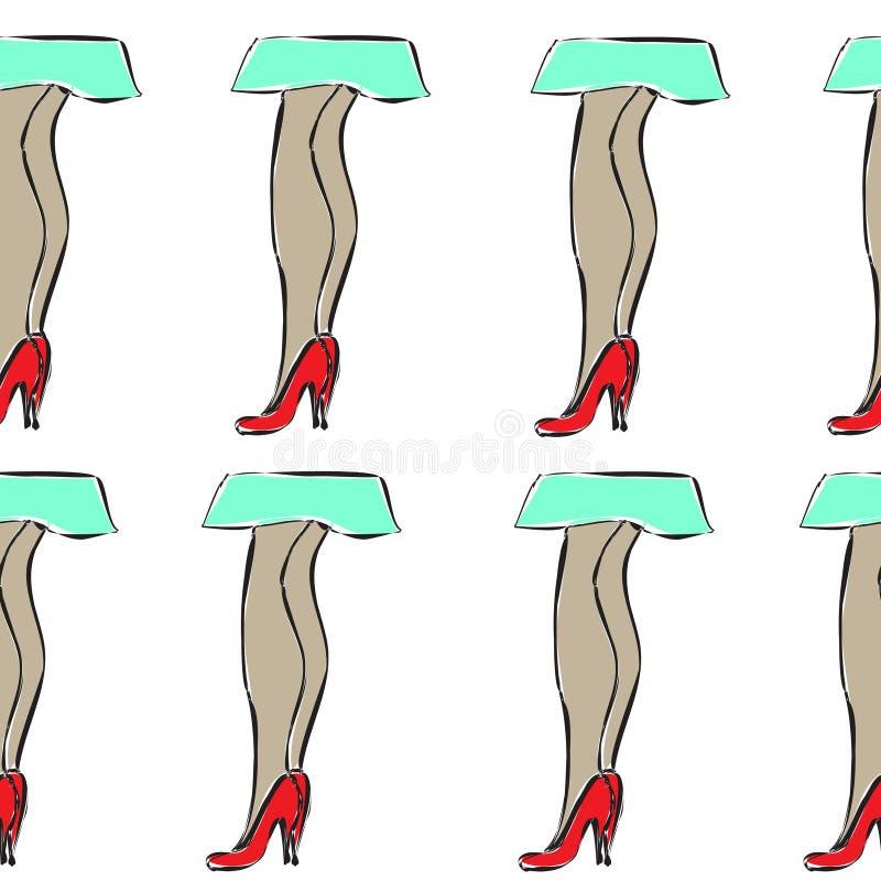 Den sömlösa modellen med flickan lägger benen på ryggen i skor och kjol stock illustrationer