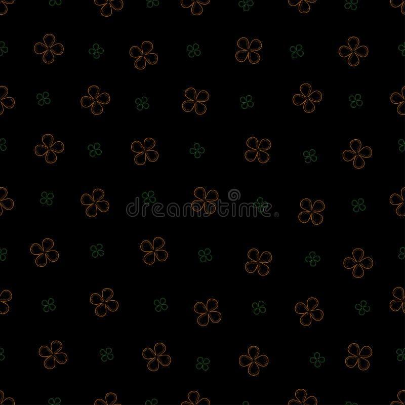 Den sömlösa modellen med fyra kronblad blommar på en svart bakgrund vektor illustrationer