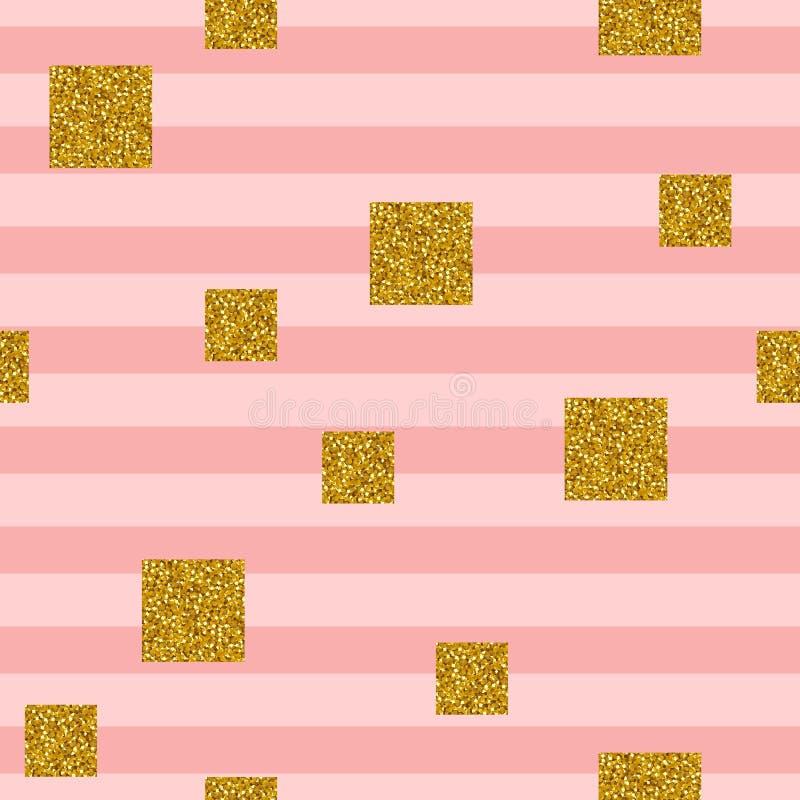 Den sömlösa modellen med fyrkanter av guld- blänker på randig bakgrund royaltyfri illustrationer