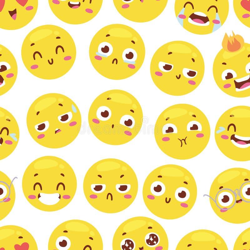 Den sömlösa modellen med gladlynta lyckliga smileys för textilinre eller bokdesign och den roliga teckenwebsiten gulnar royaltyfri illustrationer