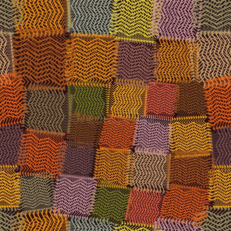 Den sömlösa modellen med grunge gjorde randig latticed färgrika fyrkantiga beståndsdelar på brun bacldrop royaltyfri illustrationer
