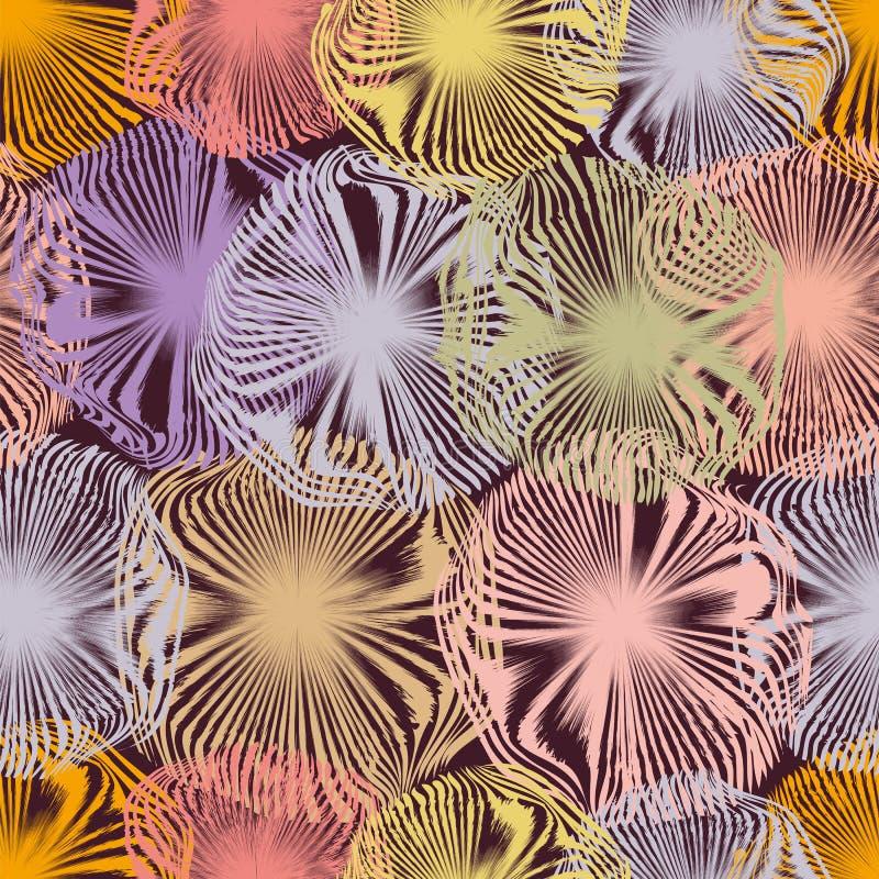 Den sömlösa modellen med grunge gjorde randig suddiga cirklar i pastellfärgade färger stock illustrationer