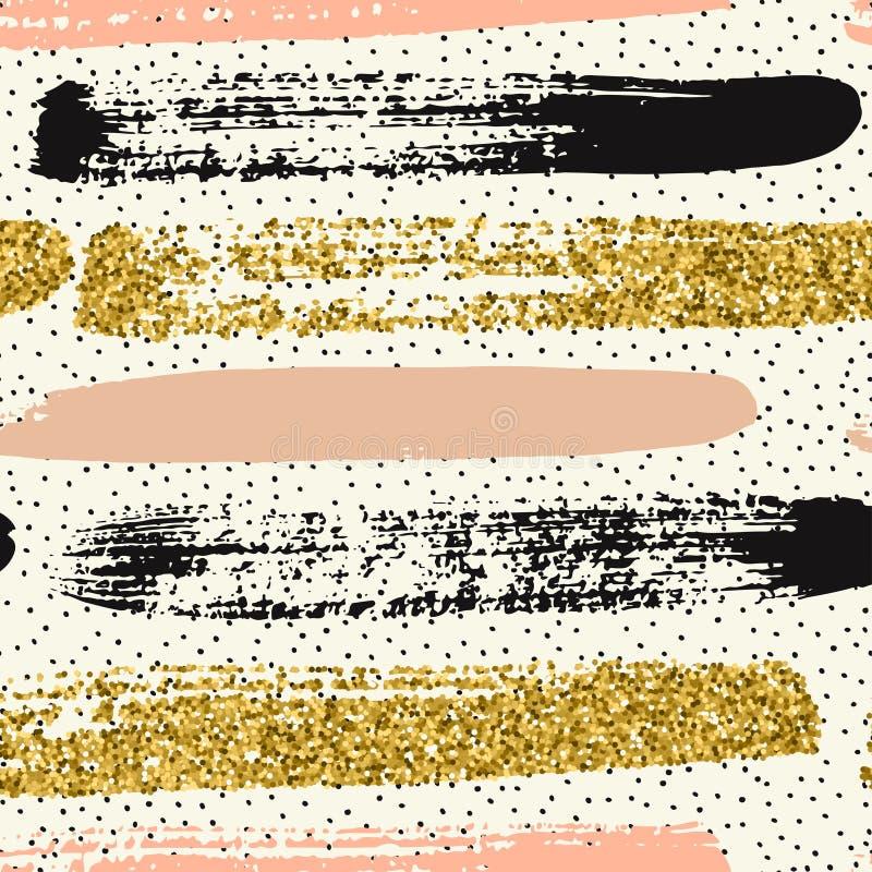Den sömlösa modellen med guld blänker borsteslaglängder arkivbild