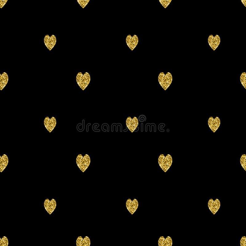 Den sömlösa modellen med guld blänker texturerade hjärtor vektor stock illustrationer