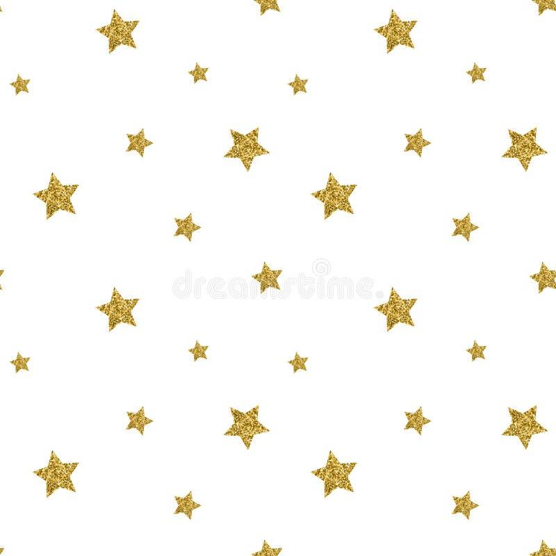 Den sömlösa modellen med guld blänker texturerade stjärnor vektor royaltyfri illustrationer