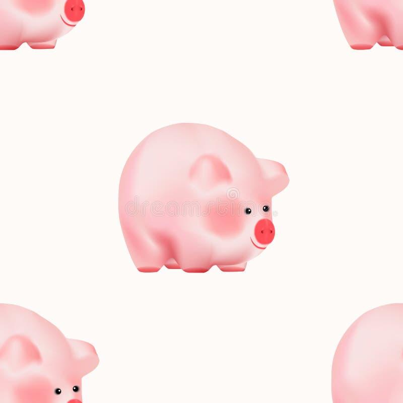 Den sömlösa modellen med gulliga förtjusande rosa färger behandla som ett barn piggy Kinesiskt symbol för nytt år som isoleras på royaltyfri illustrationer