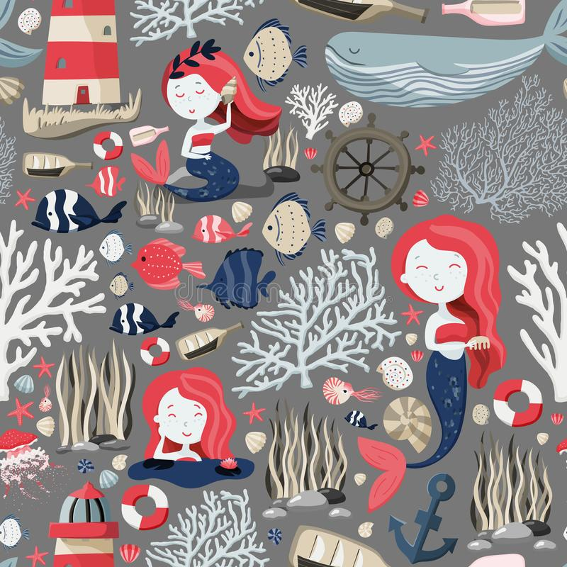 Den sömlösa modellen med gulliga sjöjungfruar, fyr, fiskar, skal, ankaret, sjöstjärnan etc. Havs- eller havliv textur stock illustrationer
