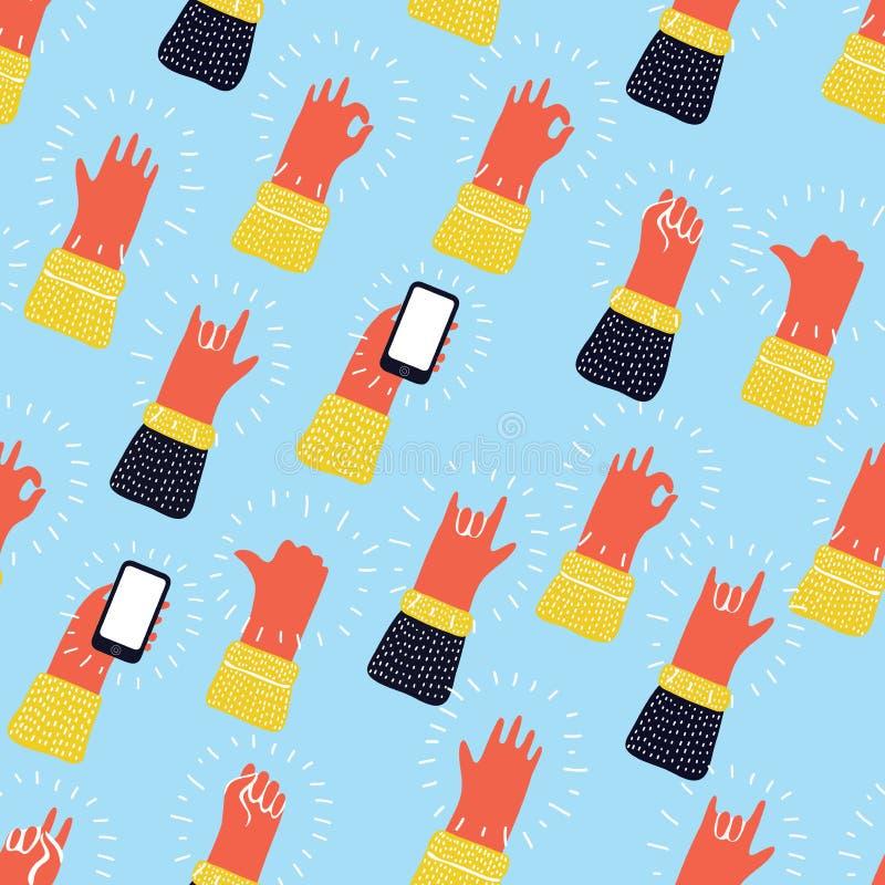 Den sömlösa modellen med händer som coolt visar, vaggar - och - rullar tecken Hand dragen bakgrund för din design stock illustrationer