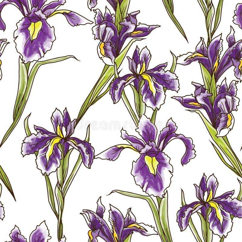 Den sömlösa modellen med härliga iriers blommar, art décostil stock illustrationer