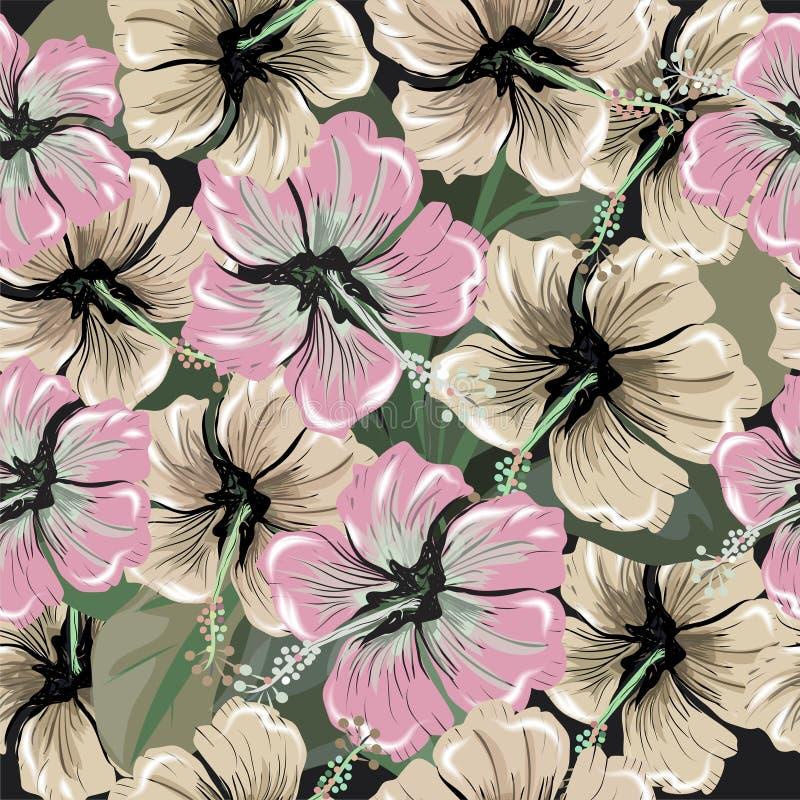 Den sömlösa modellen med hibiskusen blommar på gräsplan royaltyfri illustrationer