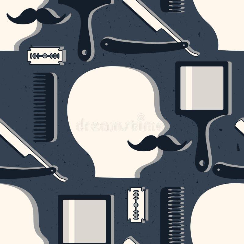 Den sömlösa modellen med hjälpmedel för barberare shoppar stock illustrationer