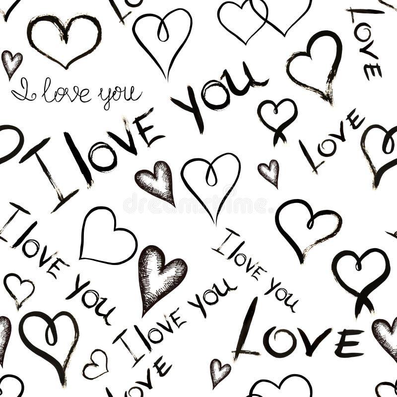 """Den sömlösa modellen med inskrifter """"älskar jag dig"""" och hjärtor som är skriftliga vid handen i svart färgpulver stock illustrationer"""