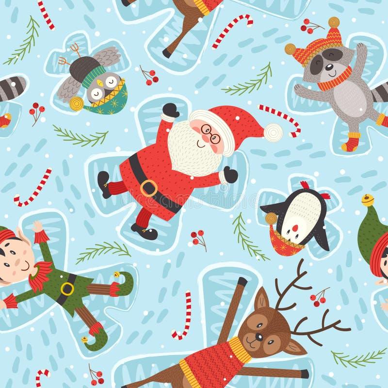 Den sömlösa modellen med jultecken gör snöängel royaltyfri illustrationer