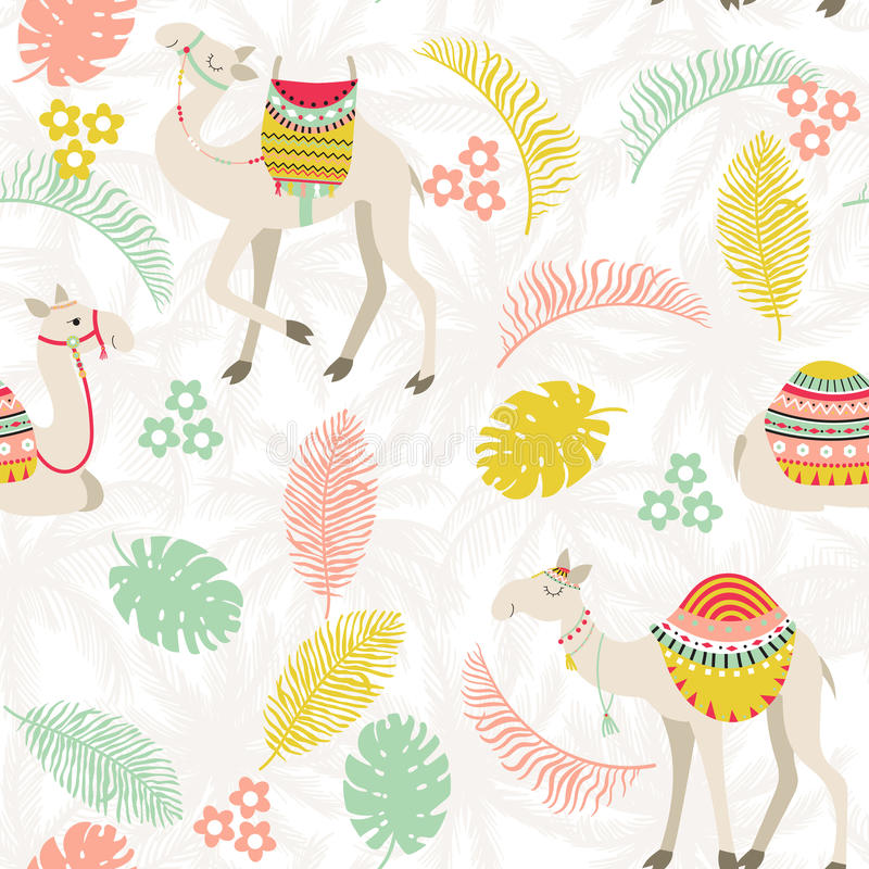 Den sömlösa modellen med kamel och gömma i handflatan royaltyfri illustrationer