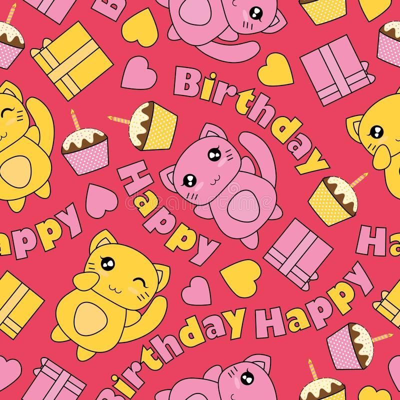 Den sömlösa modellen med kawaiikatter, födelsedagkakan och askgåvor på den rosa bakgrundsvektortecknade filmen som är passande fö royaltyfri illustrationer
