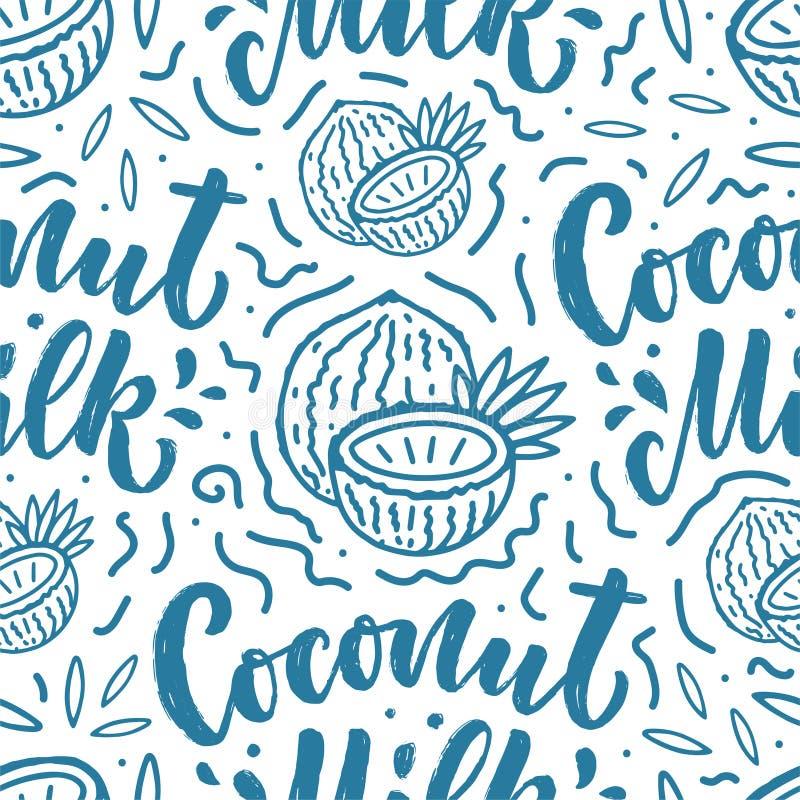Den s?ml?sa modellen med kokosn?ten mj?lkar bokst?ver f?r baner, bakgrund, logo och f?rpackande design Sund mat f?r organisk n?ri royaltyfri illustrationer