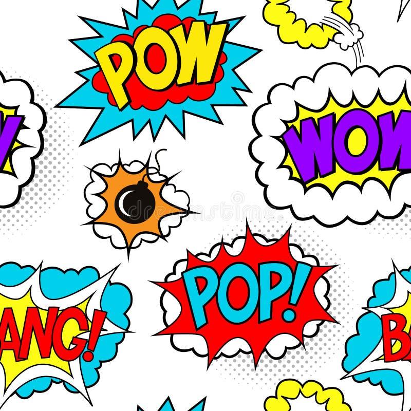 Den sömlösa modellen med komiskt anförande bubblar lappar, POW, ÖVERRASKAR, BANKAR stock illustrationer