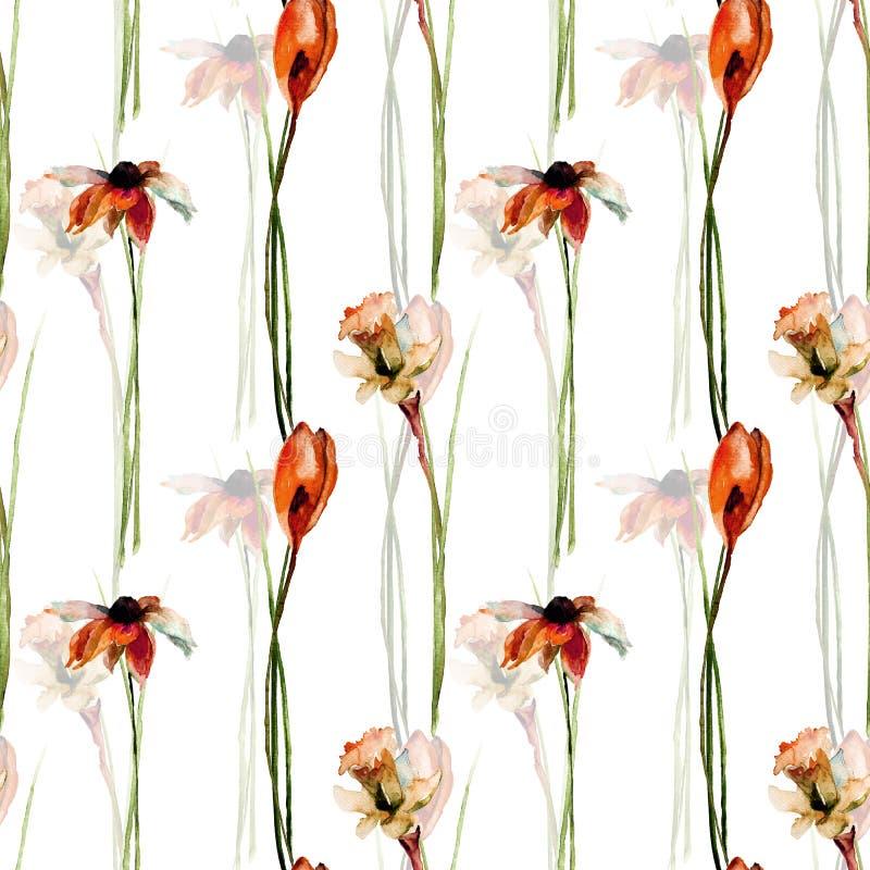 Den sömlösa modellen med krokus, gerber och pingstliljan blommar stock illustrationer