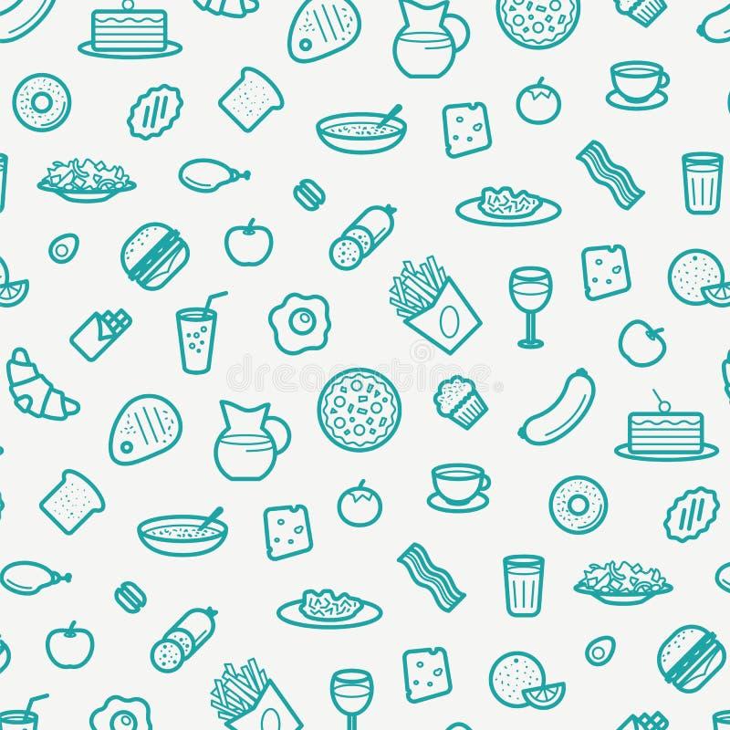 Den sömlösa modellen med linjen symboler av mat gillar korven, kakan, munken, gifflet, bacon, muffin, kaffe, sallad etc. stock illustrationer