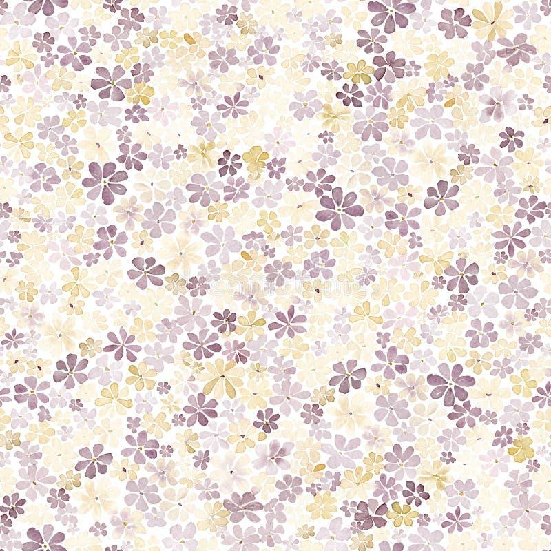 Den sömlösa modellen med liten brunt och guling blommar vattenfärg stock illustrationer