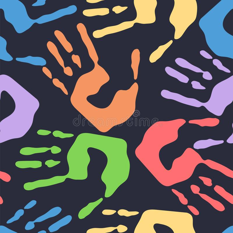 Den sömlösa modellen med mänskliga handprints, den färgrika manhanden stämplar på mörk bakgrund, vektorillustration vektor illustrationer