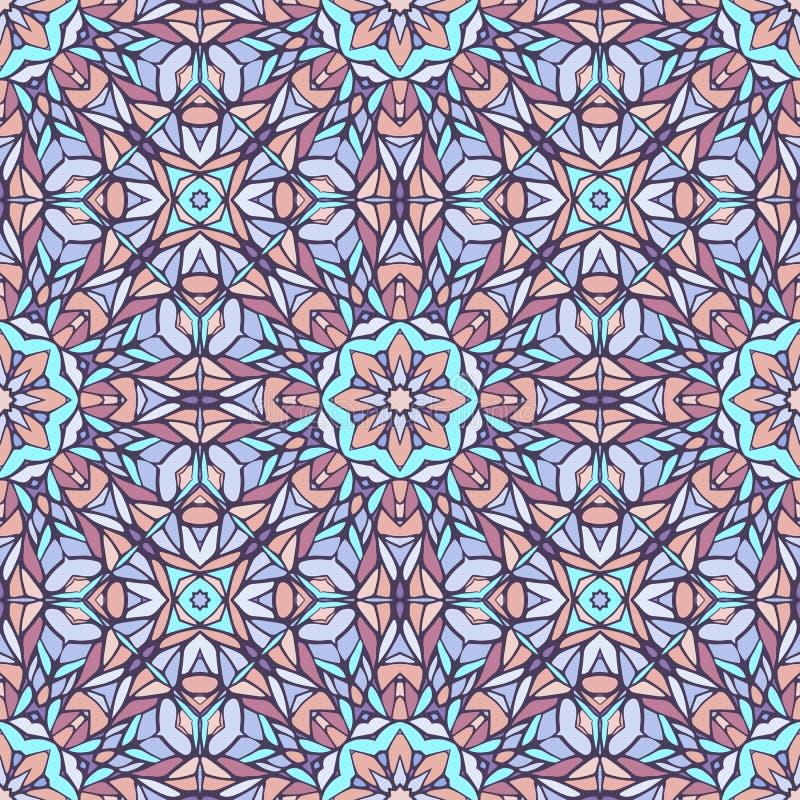 Den sömlösa modellen med mosaiken snör åt prydnaden royaltyfri illustrationer