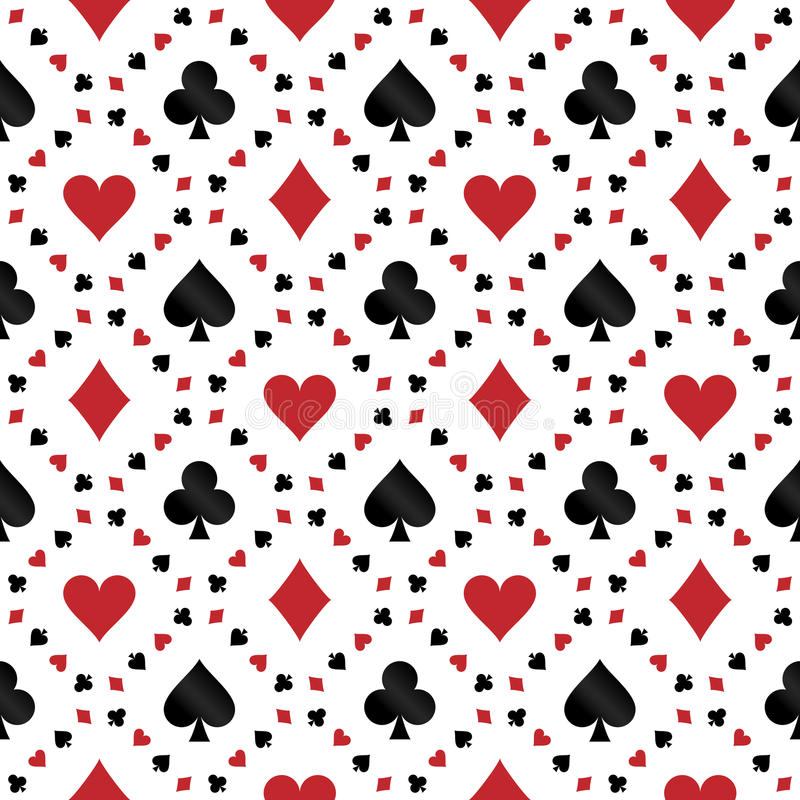Den sömlösa modellen med poker cards symboler vektor illustrationer