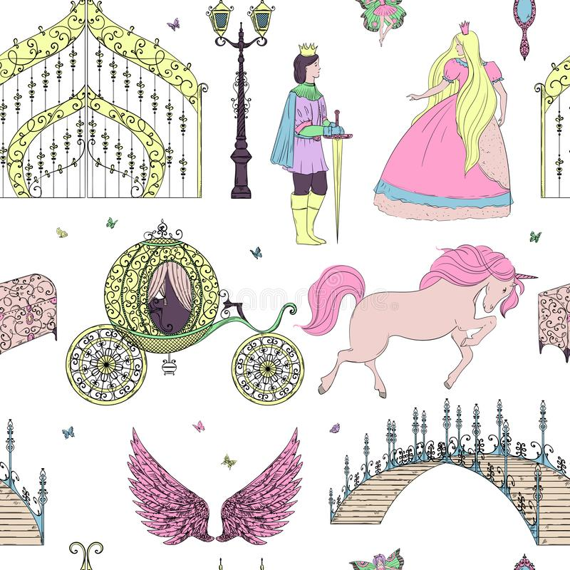 Den sömlösa modellen med prins, prinsessan, porten, enhörningen, lyktan, bröstkorgen, bron och ängel påskyndar Sagatema royaltyfri illustrationer