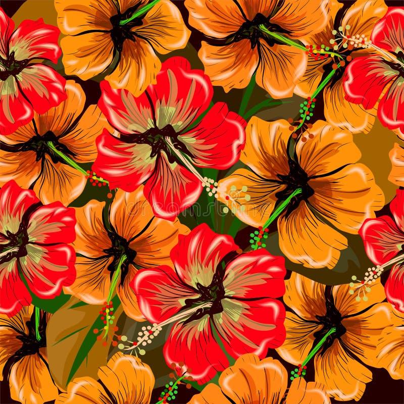 Den sömlösa modellen med den röda hibiskusen blommar på gräsplan vektor illustrationer