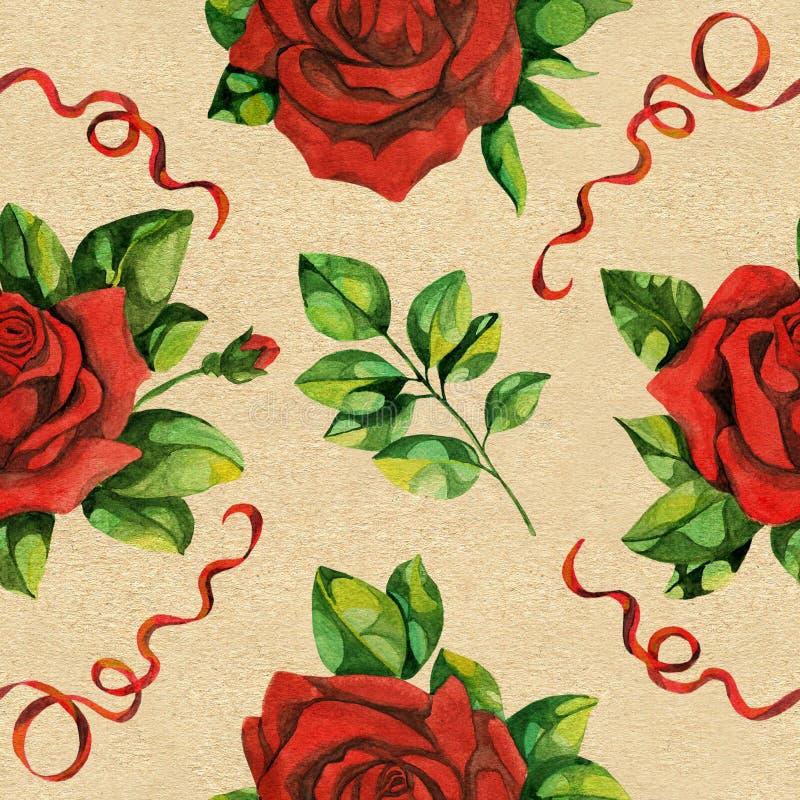 Den sömlösa modellen med röda rosor och snör åt royaltyfri illustrationer