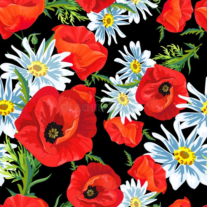 Den sömlösa modellen med röda vallmo, den vita kamomillen blommar royaltyfri illustrationer