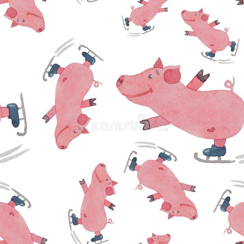 Den sömlösa modellen med roligt piggy på skridskor målade med waterco stock illustrationer