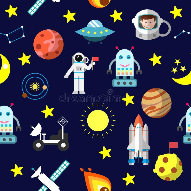 Den sömlösa modellen med rymdfärjan, raket, komet, astronautet, stjärnor och månen, Jupiter, fördärvar, roboten och solsystemet stock illustrationer