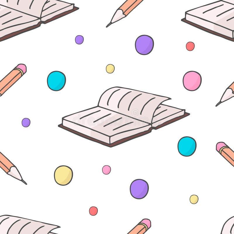 Den sömlösa modellen med skolabeståndsdelar bokar och ritar Det kan vara nödvändigt för kapacitet av designarbete stock illustrationer