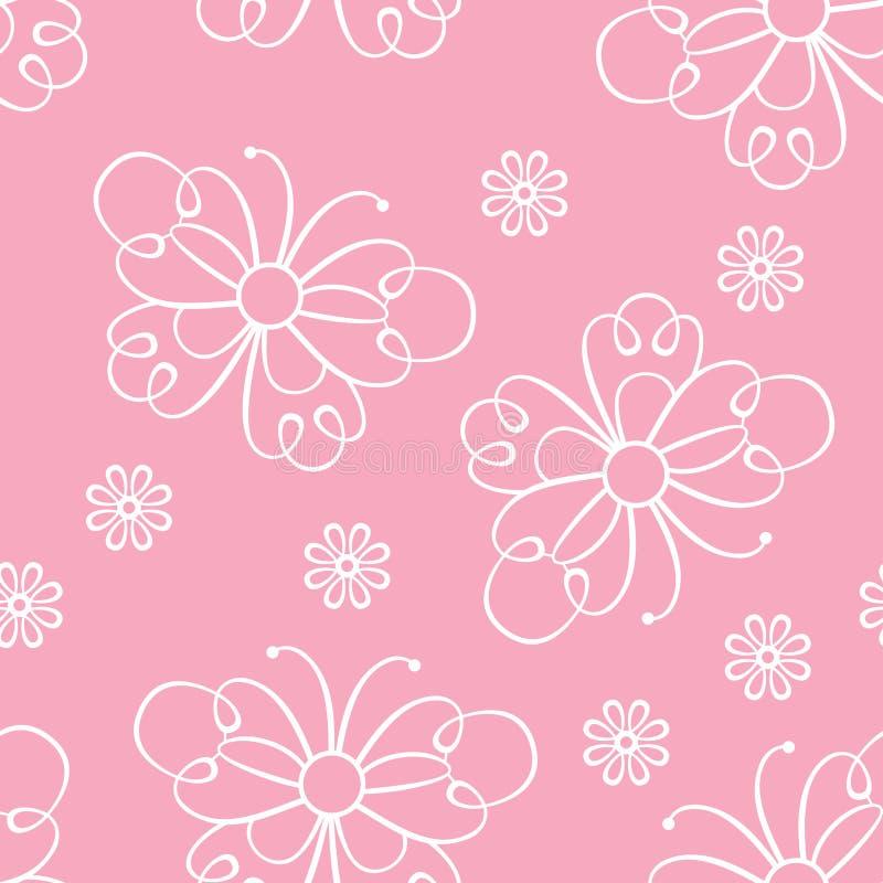 Den sömlösa modellen med snör åt fjärilar och blommor f?r bakgrund pink flickaktigt royaltyfri illustrationer