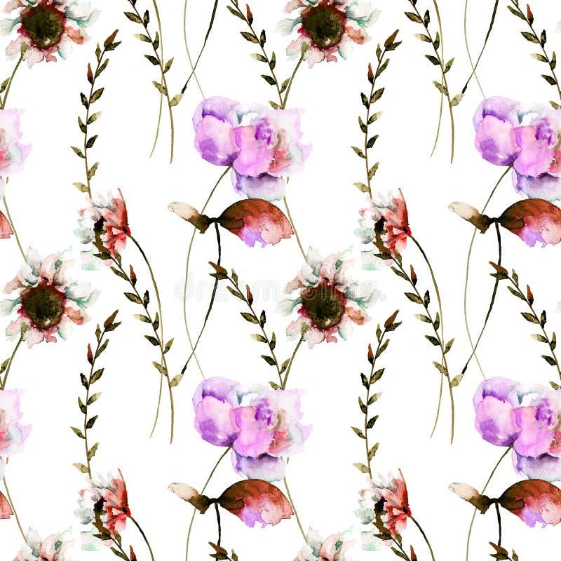 Den sömlösa modellen med den stiliserade Gerber och pionen blommar stock illustrationer