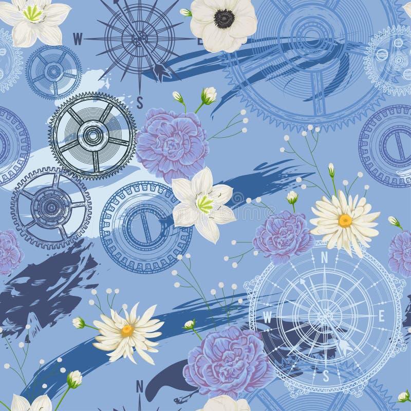 Den sömlösa modellen med tappningkompasset, vindrosen, kugghjul, borste slår och blommar Lopp, affärsföretag och upptäckt Nautisk stock illustrationer