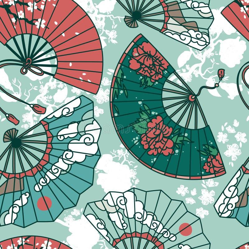 Den sömlösa modellen med traditionellt asiatiskt handpapper fläktar stock illustrationer
