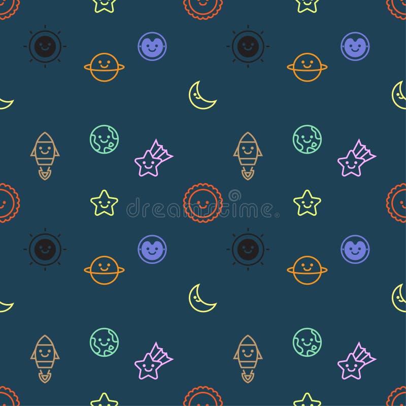 Den sömlösa modellen med uppsättningen av utrymme och galaxen anmärker symbolsdesignen, mörk bakgrund, vektor vektor illustrationer