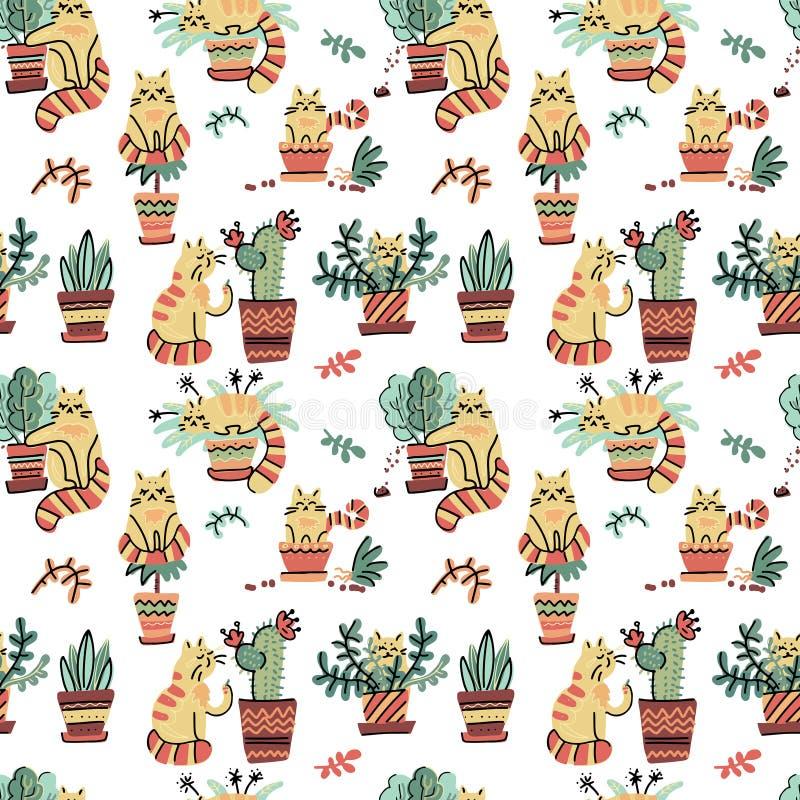 Den sömlösa modellen med utdragna katter för den gulliga handen i olikt poserar skadlig hem- växter Tecknad film för plant klotte stock illustrationer