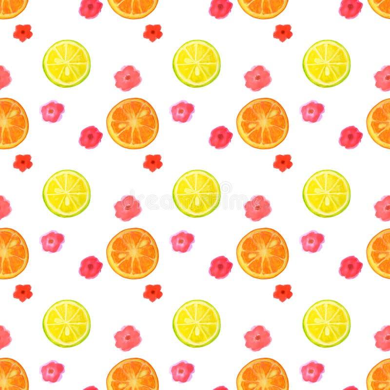 Den sömlösa modellen med vattenfärgen blommar och skivor av citronen och apelsinen royaltyfri illustrationer
