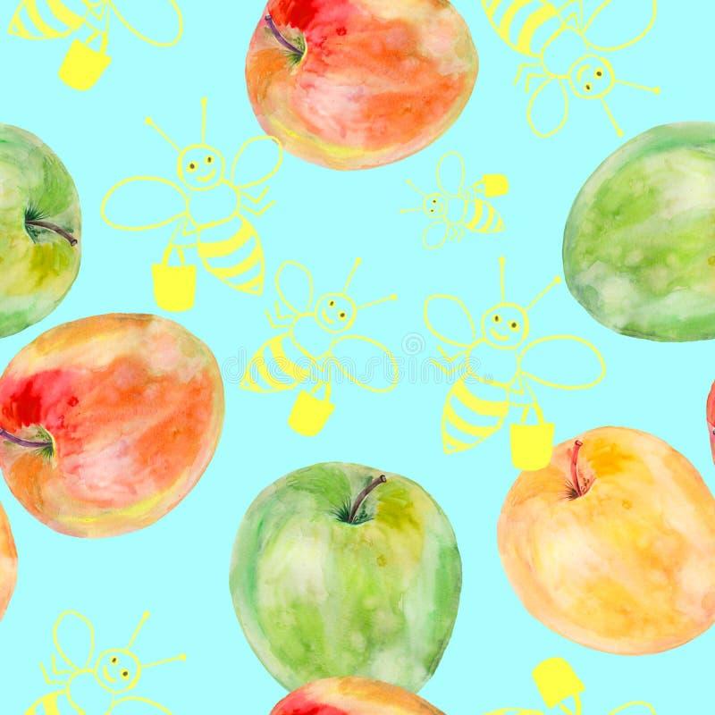 Den sömlösa modellen med vattenfärgen målade äpplen och bin som drogs i photoshop royaltyfri illustrationer