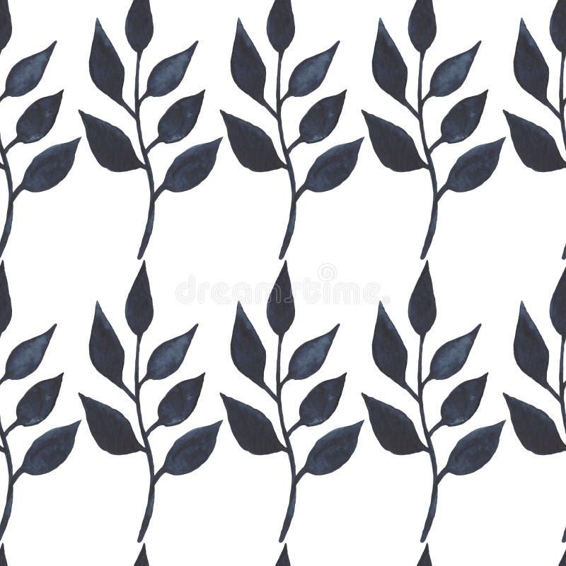 Den sömlösa modellen med vattenfärgfilialillustrationen av fattar sidor som blom- handgjord textur lämnar Digital pappers- textil royaltyfri illustrationer