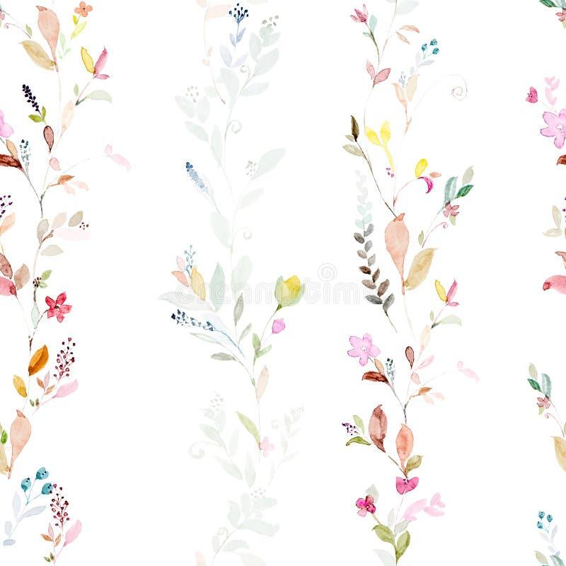Den sömlösa modellen med vattenfärghanden målade blom- och sidor stock illustrationer