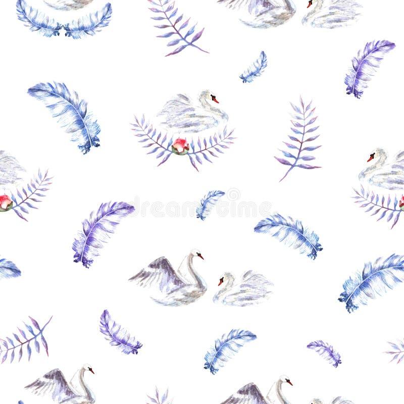 Den sömlösa modellen med vattenfärghanden målade svanar, fjädrar, ris stock illustrationer