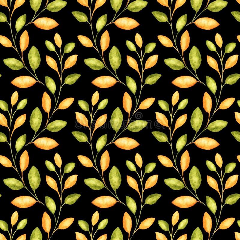 Den sömlösa modellen med vattenfärgillustrationer av hösten förgrena sig för textil eller den förpackande designen för tacksägels stock illustrationer