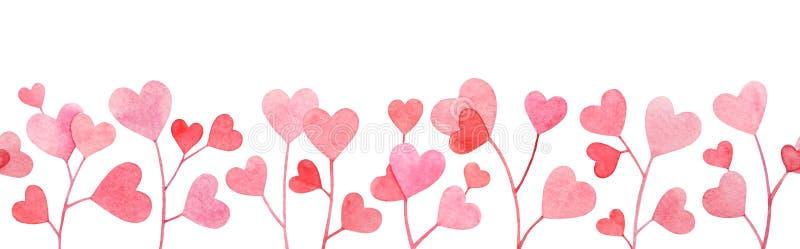 Den sömlösa modellen med vattenfärgllustration av filialer med rosa och röd hjärta formade sidor på vit bakgrund stock illustrationer