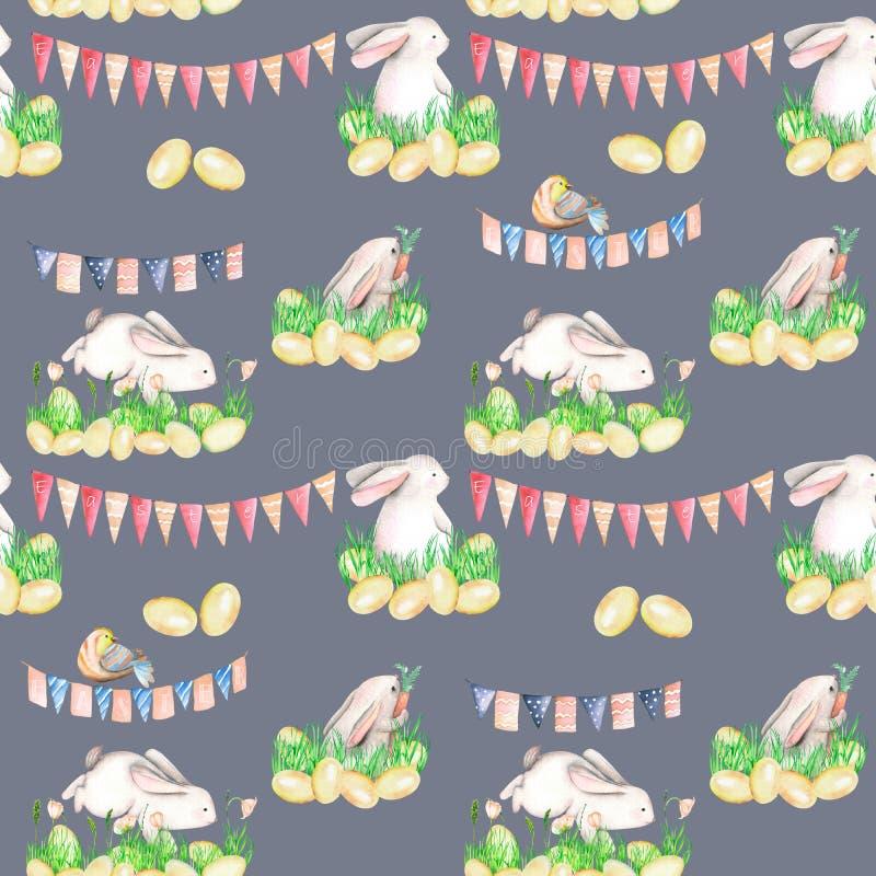 Den sömlösa modellen med vattenfärgpåsk oavbrutet tjata i gräs, ägg och girlander med flaggor royaltyfri illustrationer